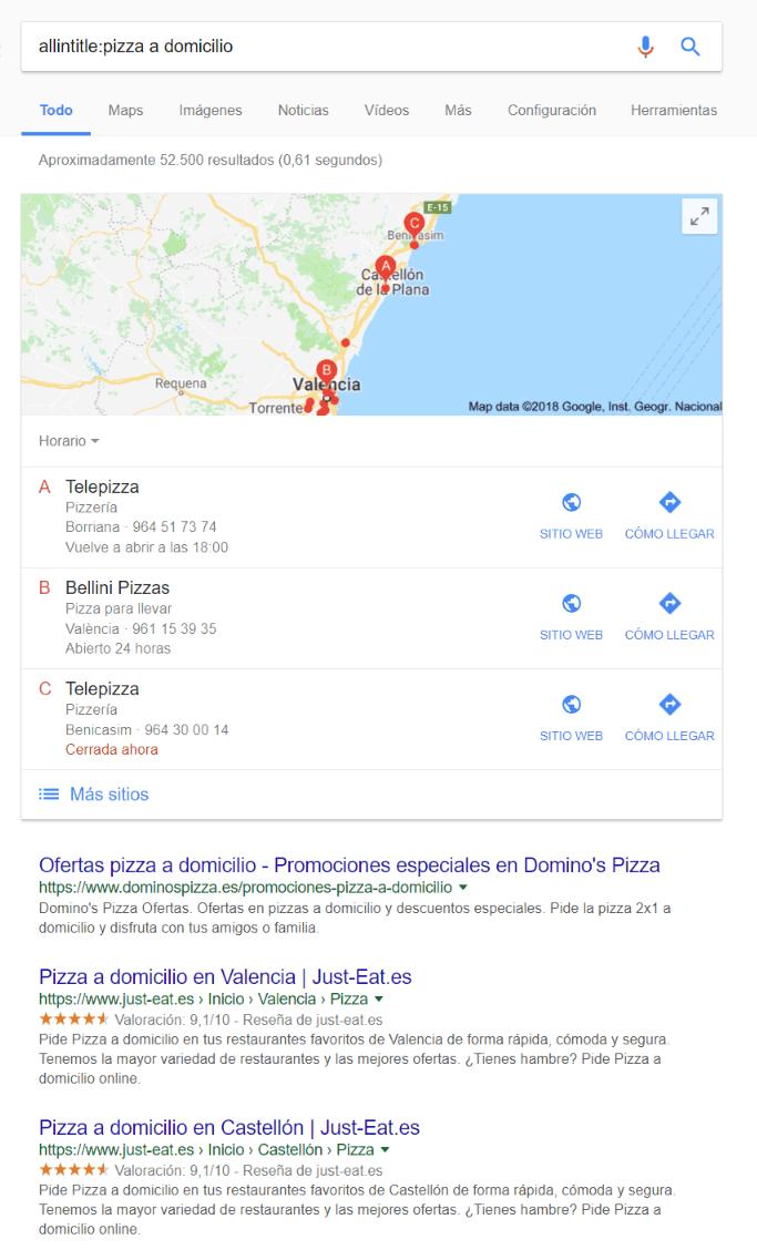 Búsqueda de pizza a domicilio en Google con mapas