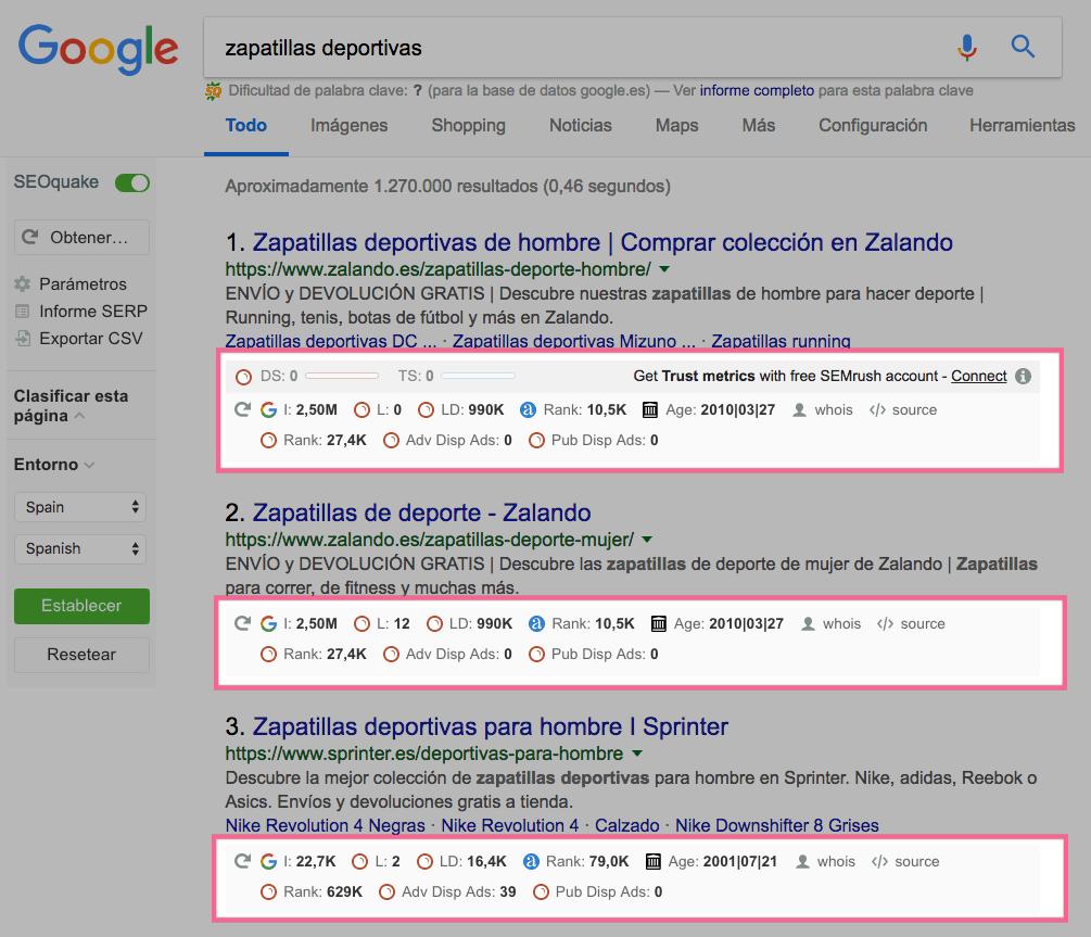 Resultados de Google con SEOQuake