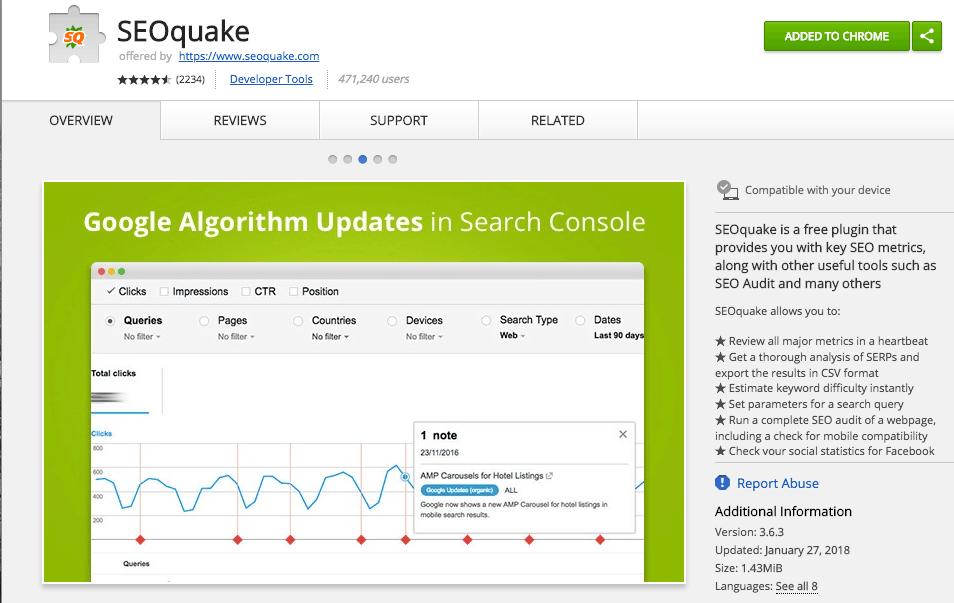SEOquake en la Chrome web store