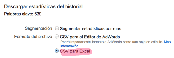 Adwords keyword planner descargar estadisticas