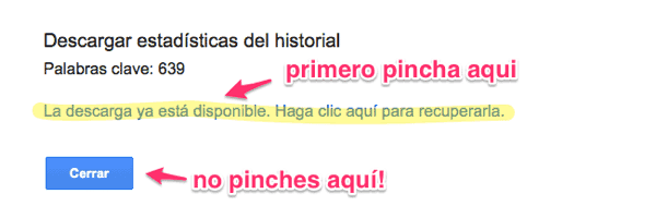 Descargar estadisticas historial adwords