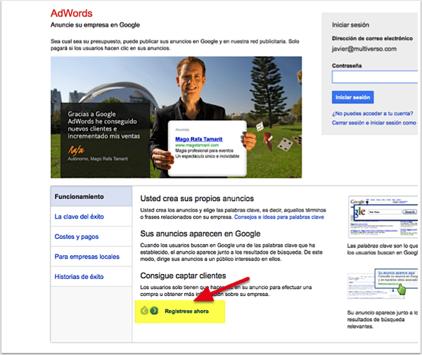 Registrarse en Google Adwords
