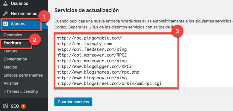 Servicios de actualización de WordPress para el indexado