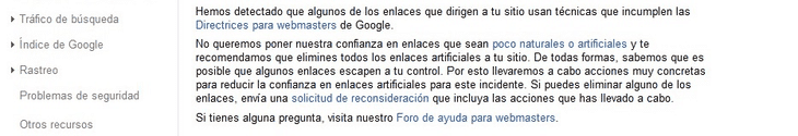 Notificación de Google sobre enlaces poco naturales o artificiales