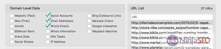 Buscando datos de contacto con URL Profiler