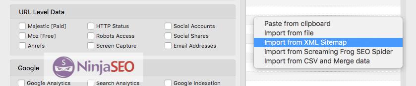 Importar Sitemap en URL Profiler
