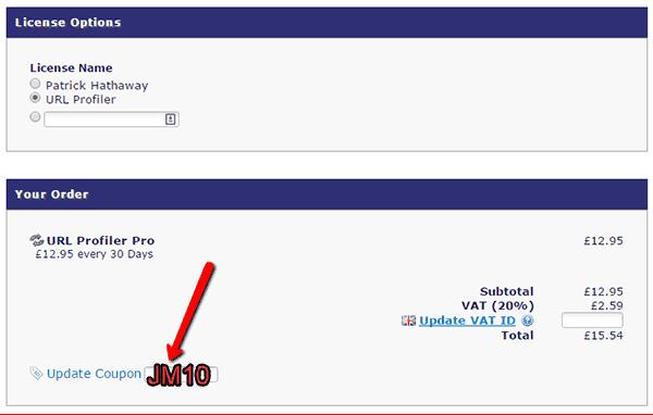 Introduce tu código de descuento para URL Profiler