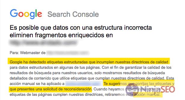 Penalización manual de Google por fragmentos enriquecidos