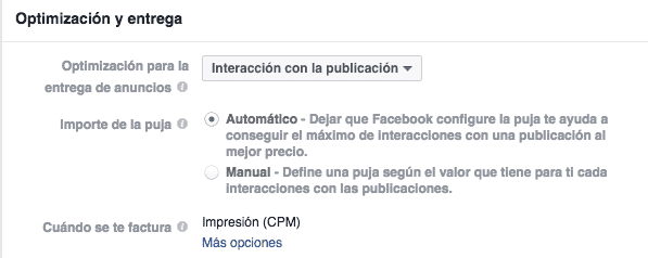 Interacción y puja en Facebook Ads