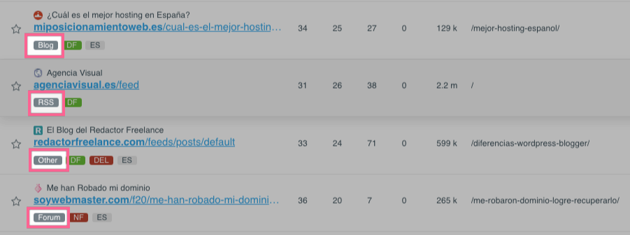 Categorización de los enlaces en LinkMiner