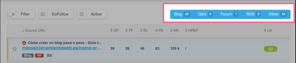 Filtrado de enlaces por categorías en LinkMiner