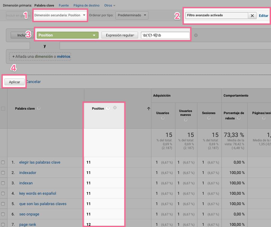 Vizualizando Keywords posicionadas en la segunda página de Google