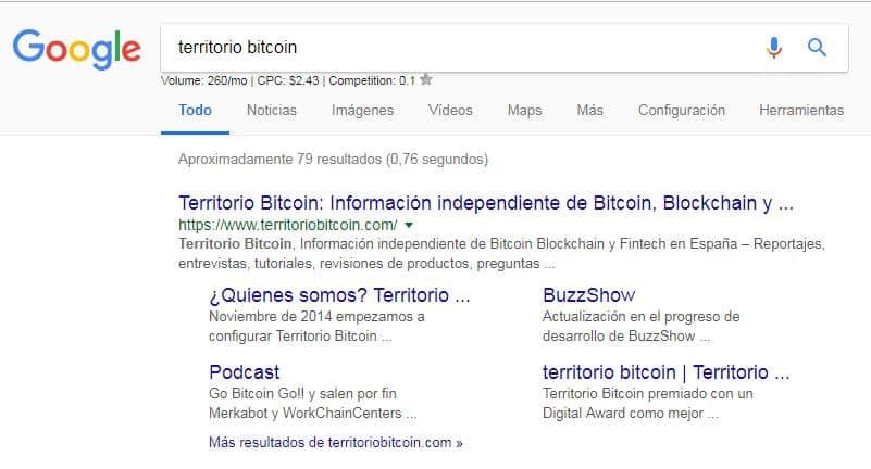 Ejemplo de un sitio web relacionado con el tema bitcoin