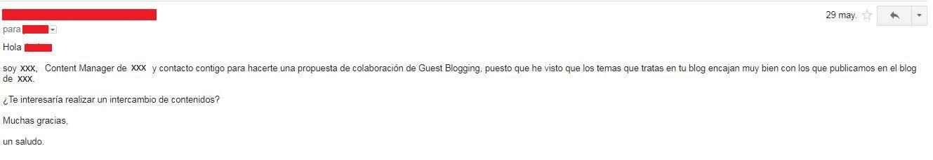 Ejemplo de un correo de acercamiento para conseguir un guest post