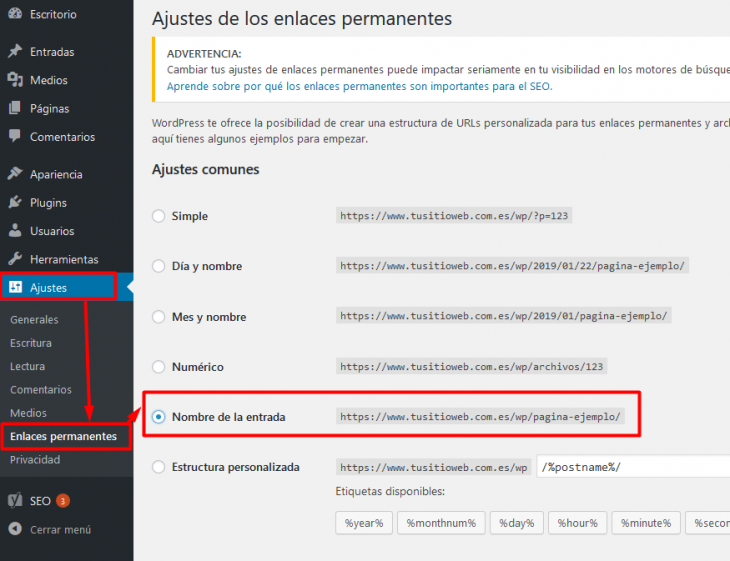 Ajustes de los enlaces permanentes en WordPress