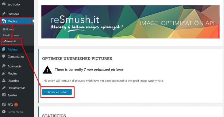 Optimización de imágenes con reSmush para WordPress