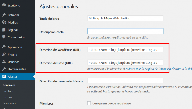Preferencias de URL en WordPress