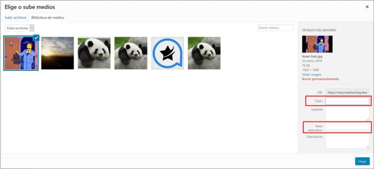 Títulos y textos alternativos de imágenes en WordPress