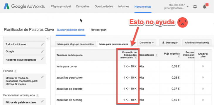 El planificador de palabras clave de Google y los rangos de búsquedas