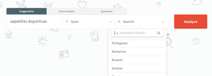 Kwfinder volumen de búsquedas por idioma