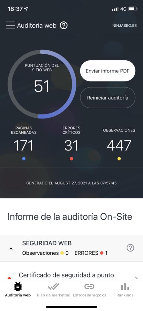 se ranking app móvil auditoría org