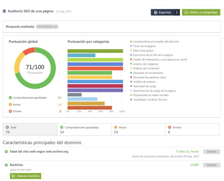 se ranking auditoría seo on page informe ninjaseo org